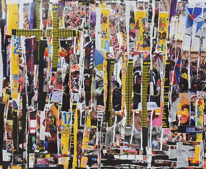 Carna - Collages,  19.7x25.6x0.2 in, ©2019 by Dom (K) -                                                                                                                                                                                                                                                                                                                                                                                                                                                                                                                                                                                                                                                                                  Outsider Art, outsider-art-1044, Pop Culture / celebrity, carnaval, bal de carnaval, dunkerque, appropriation, collage, decollage, affiches, jean-bart, bandes de carnaval, villeglé, nouveaux realistes
