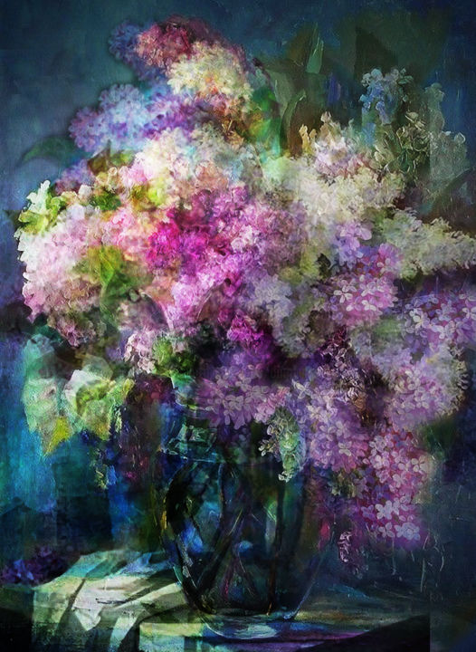 lilas - Arte digitale ©2018 da Dodi Ballada -                            Fiore, flowers, lilac, lilas, floral, digital painting, digital arts, digital drawings, Dodi Ballada