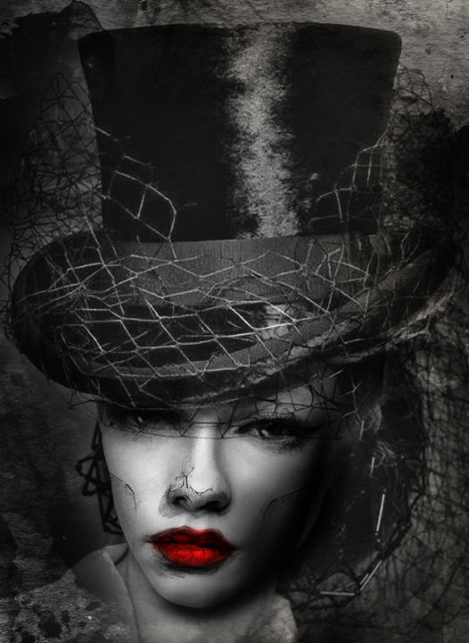 chapeau claque - Photography ©2018 by Dodi Ballada -                                            Portraiture, Women, photography, black and white photography, digital painting, digital arts, chapeau claque, Dodi Ballada, portrait
