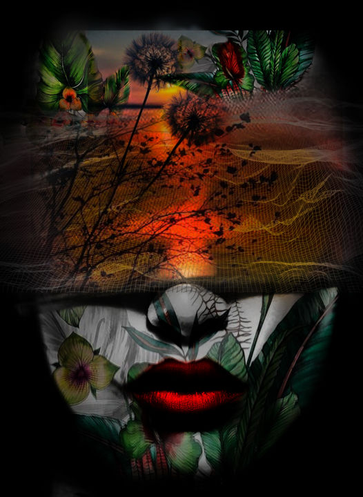 soleil levant - ©  surrealism, surrealism digital art, Dodi Ballada, women portrait, digital painting, digital arts, digital drawings Online Artworks