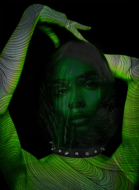 temps troublés - ©  pop art, digital painting, digital arts, digital drawing, green, Dodi Ballada, women portrait Online Artworks