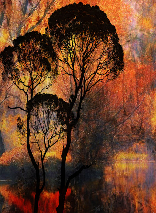 la forêt s'embrase - Digital Arts, ©2019 by Dodi Ballada -                                                                                                                                                                                                                                                                                                                                                                                                                                                                                                                          Landscape, Tree, tree, forest, fire, red, abstract figurative, abstract painting, landscape, abstract figurative painting, Dodi Ballada