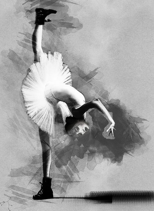 la nuit elle rêvait de devenir danseuse - Digital Arts, ©2019 by Dodi Ballada -                                                                                                                                                                                                                                                                                                                                                                                                                                                                          figurative art drawing, figurative art, digital painting, ballerina, dancing, dance, tutu, digital arts, digital drawing, Dodi Ballada