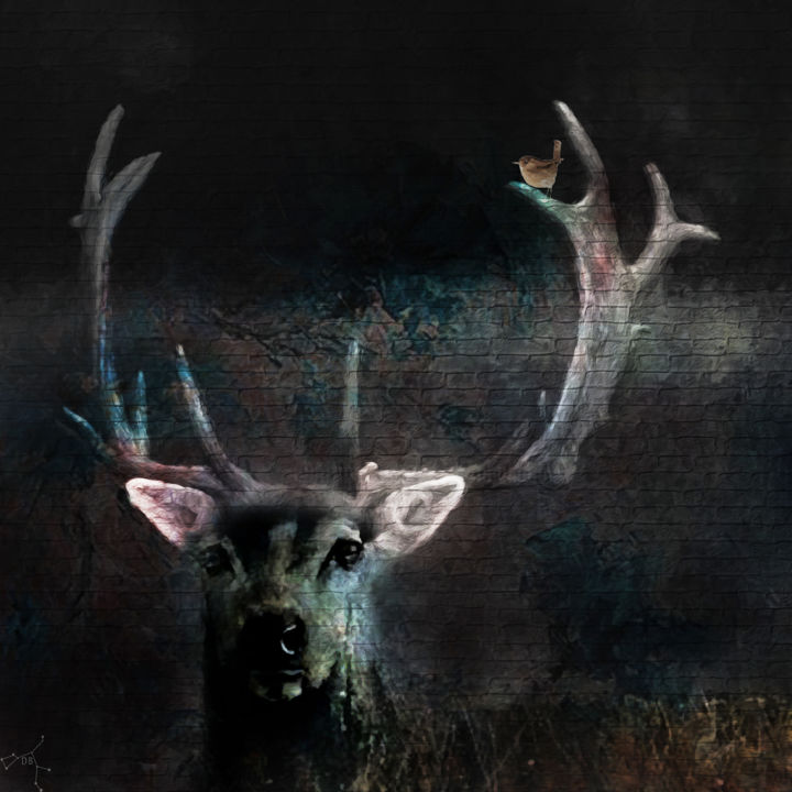 l'orée du bois - Digital Arts ©2019 by Dodi Ballada -                            Animals, stag, stag in painting, stag painting, nature, wildlife, Dodi Ballada, #dodiballadaart, digital painting, digital arts