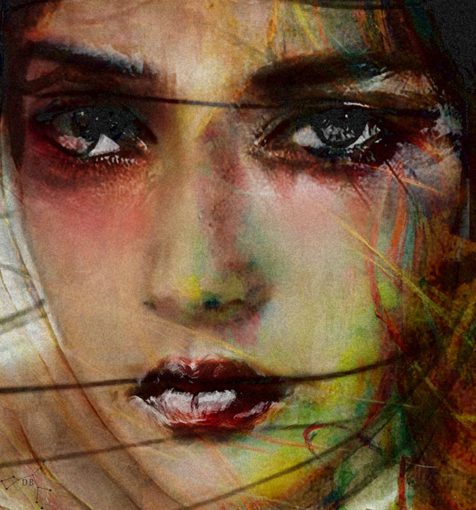 calme beauty - Digital Arts ©2019 by Dodi Ballada -            digital painting, Dodi Ballada, #dodiballadaart, digital arts, collages, women portrait, abstract figurative painting