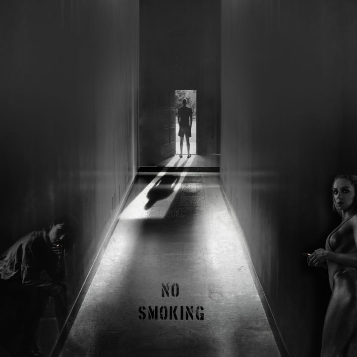 no smoking - © 2018 black and white, manipulated photography, Dodi Ballada, #dodiballadaart, digital arts Online Artworks