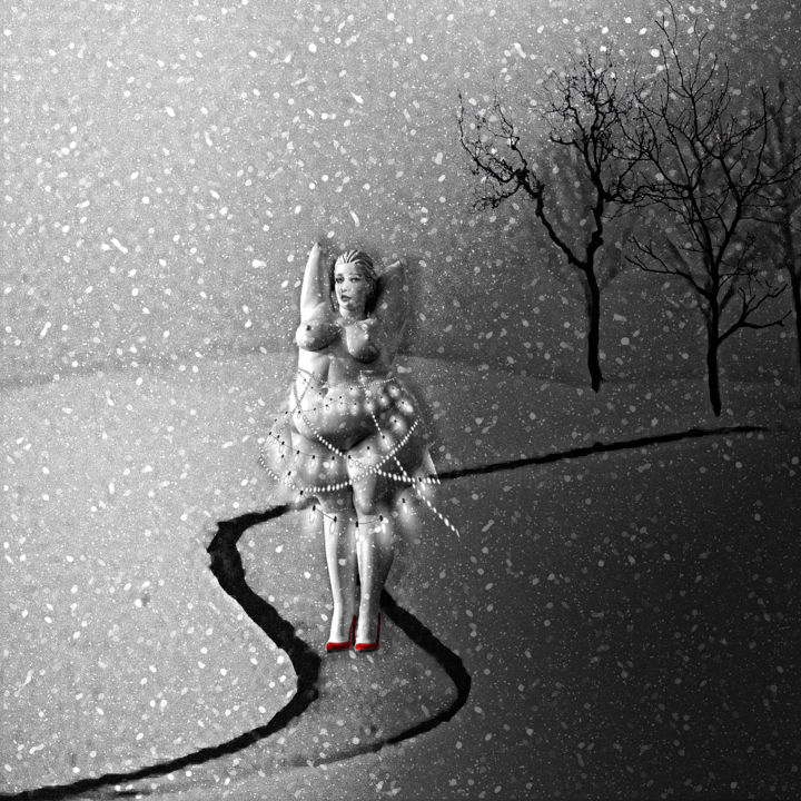 Meanwhile in Sweden, ART as no rules - Digital Arts, ©2019 by Dodi Ballada -                                                                                                                                                                                                                                                                                                                                                                                                                                                                                                  Surrealism, surrealism-627, Women, snow painting, red shoes, Dodi Ballada, #dodiballadaart, digital painting, digital arts, surrealism
