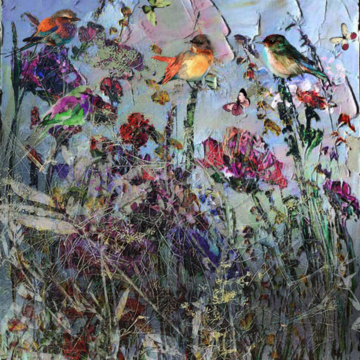 Some birds are not meant to be caged, that's all - Digital Arts, ©2020 by Dodi Ballada -                                                                                                                                                                                                                                                                                                                                                                                  figurative landscape, landscape, birds, flowers, floral, #dodiballadaart, digital art, digital painting