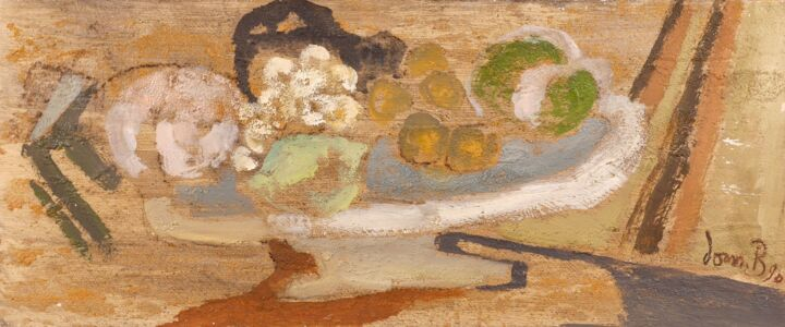 Coupe de fruits ( + sable ) - Painting,  17x41 cm ©1990 by Dominique Bertrand -                        Wood