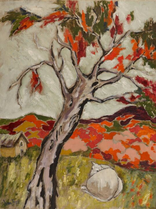 Paysage rouge - Painting,  24x18.1 in, ©2002 by Dominique Bertrand -