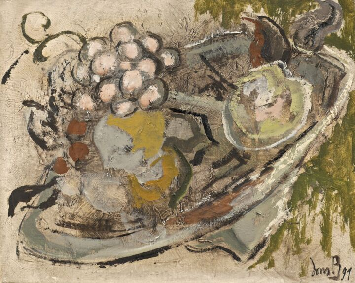 Les raisins roses - Painting,  13x16.1 in, ©1991 by Dominique Bertrand -