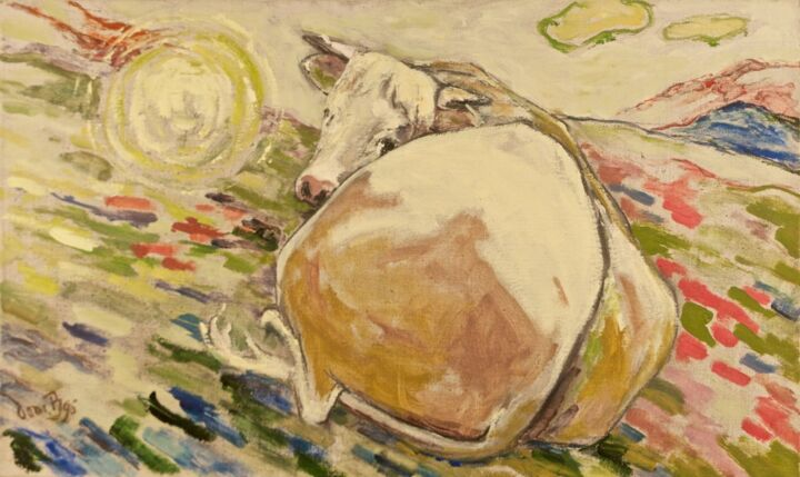 Vache - Painting,  15x21.7 in, ©1996 by Dominique Bertrand -