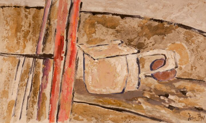Nature morte avec sable - Painting,  13x21.7 in, ©1991 by Dominique Bertrand -