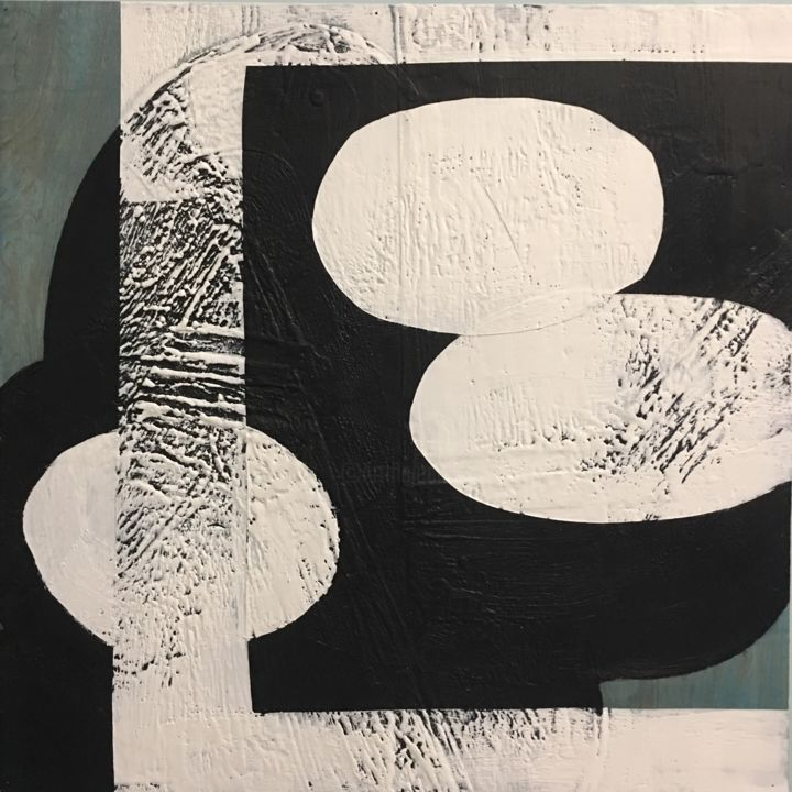 My Shadow, My Echo and Me - Painting,  24x24x2 in ©2018 by Domenica Brockman -                                                                                                            Abstract Art, Contemporary painting, Minimalism, Wood, Abstract Art, Black and White, Geometric, geometric abstraction, bold, abstract, black and blue, domenica brockman, minimalist abstraction, minimalism, contemporary painting, modern interior design, encaustic, textured painting