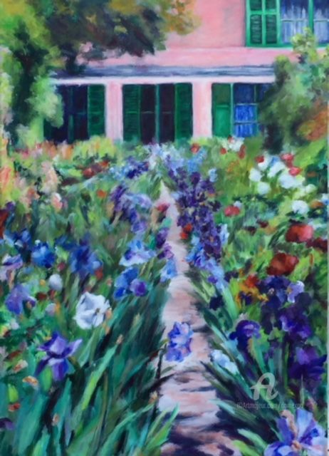 Chez Monet à Giverny - Painting,  70x50 cm ©2017 by Dominique GOBELIN MANSOUR -                                                                                                Figurative Art, Impressionism, Canvas, Flower, Garden, Home, Monet, Giverny, Maison rose, Jardin, peinture, impressionnisme, couleurs, acrylique