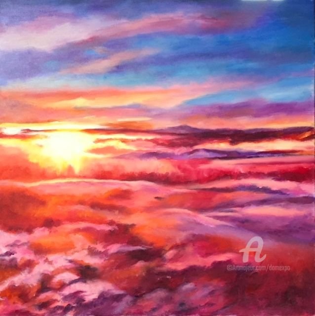 Soleil levant - Painting,  50x50 cm ©2017 by Dominique GOBELIN MANSOUR -                                                                                                            Environmental Art, Impressionism, Canvas, Airplane, Aerial, Colors, Travel, soleil, ciel, vue aérienne, lever du jour, couleurs, peinture, huile