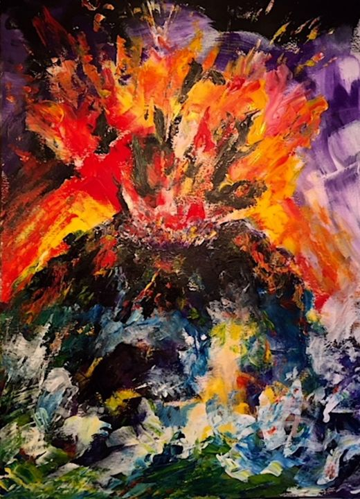 Eruption volcanique - Painting,  42x30 cm ©2018 by Dominique GOBELIN MANSOUR -                                                                                                Abstract Art, Paper, Colors, Nature, Landscape, Seascape, volcan, éruption, explosion, peinture