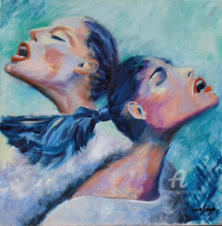Le cri 4 - Painting,  40x40 cm ©2011 by Dominique GOBELIN MANSOUR -                                                            Figurative Art, Canvas, Women, Emotions, sentiments, peinture