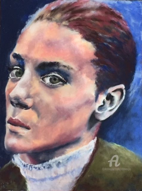 Garance - Painting,  40x30 cm ©2018 by Dominique GOBELIN MANSOUR -                                                            Figurative Art, Paper, Women, Portraits, caractère, émotion, sentiments, pastel sec, androgyne