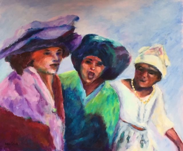 Les makoumès du carnaval - Painting,  38x46 cm ©2018 by Dominique GOBELIN MANSOUR -                                                                                                            Figurative Art, Canvas, Pop Culture / celebrity, World Culture, Women, Men, People, carnaval, Antilles, Martinique, travestis, fête