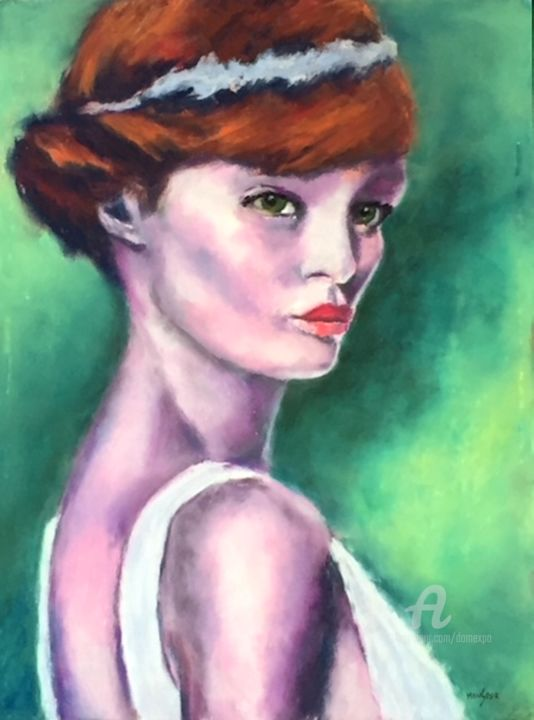 Violette - Painting,  40x30 cm ©2018 by Dominique GOBELIN MANSOUR -                                                                                    Figurative Art, Paper, Colors, Women, Portraits, pastel sec, peinture, femmes, portaits