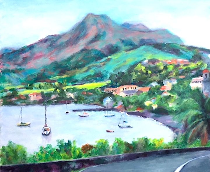 La baie de St Pierre - Painting,  46x38 cm ©2018 by Dominique GOBELIN MANSOUR -                                                                                                                        Impressionism, Canvas, Colors, Places, Nature, Landscape, Seascape, Beach, Martinique, St Pierre, Voyage, Peinture