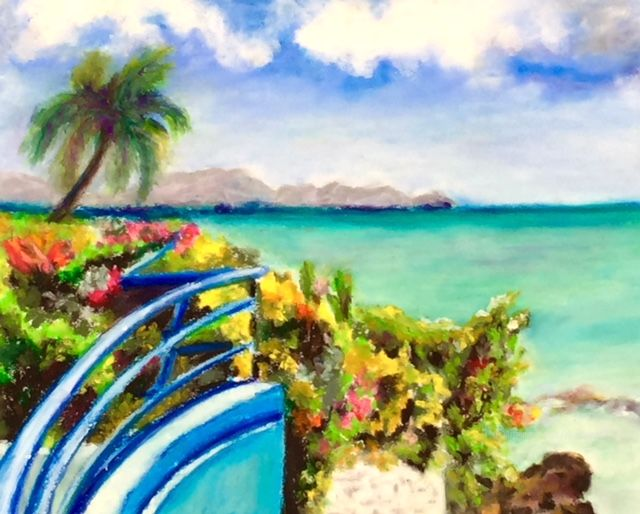 Balcon sur mer - Painting,  24x30 cm ©2018 by Dominique GOBELIN MANSOUR -                                                                                                Figurative Art, Paper, Garden, Places, Landscape, Seascape, Martinique, tropiques, couleurs