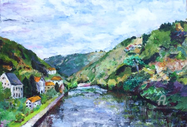Dordogne - Painting,  15x21.7 in, ©2019 by Dominique GOBELIN MANSOUR -                                                                                                                                                                                                                                                                                                                                                                                                          Figurative, figurative-594, Landscape, Mountainscape, Travel, paysage de France, vallée de la dordogne, fleuve