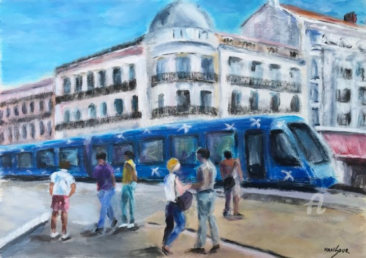 TaM ligne 1 arrêt Comédie - Peinture,  11,8x16,5 in, ©2020 par Dominique Gobelin Mansour -                                                                                                                                                                                                                                                                                                                                                          Figurative, figurative-594, Architecture, Lieux, artwork_cat.Cityscape, Transport, artwork_cat.Cities