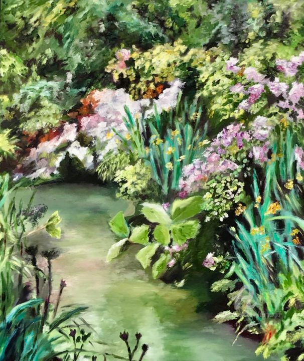 Le ruisseau fleuri - Painting,  18.1x15 in, ©2020 by Dominique Gobelin Mansour -                                                                                                                                                                                                                                                                                                                                                                                                                                                                                                                                                                                                                                                                                  Impressionism, impressionism-603, Colors, Flower, Garden, Places, Landscape, ruisseau, fleurs, eau, paysage, campagne, Giverny, huile