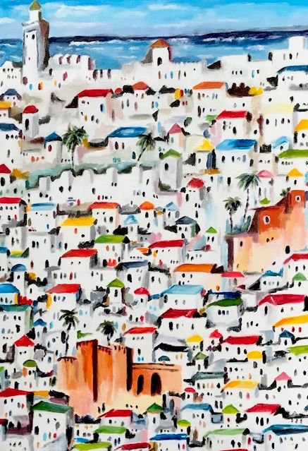 Morocco - Painting,  21.7x15 in, ©2020 by Dominique Gobelin Mansour -                                                                                                                                                                                                                                              Architecture, Colors, World Culture, Places, Cities