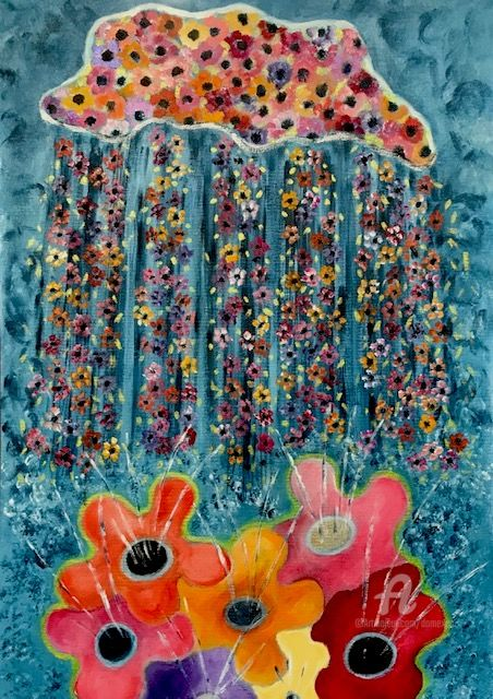 Comment naissent les fleurs - Painting,  19.7x13.8 in, ©2020 by Dominique Gobelin Mansour -                                                                                                                                                                                                                                                                                                              Naive Art, naive-art-948, Botanic, Colors, Flower, Humor