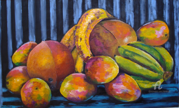 fruits tropicaux - Painting,  54x33 cm ©2012 by Dominique GOBELIN MANSOUR -                            Canvas, nature, fruits, tropiques, peinture, huile