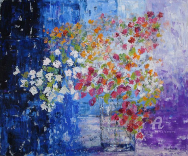 bouquet de bougainvilliers - Painting ©2013 by Dominique GOBELIN MANSOUR -                            Canvas, nature morte, fleurs, bouquet