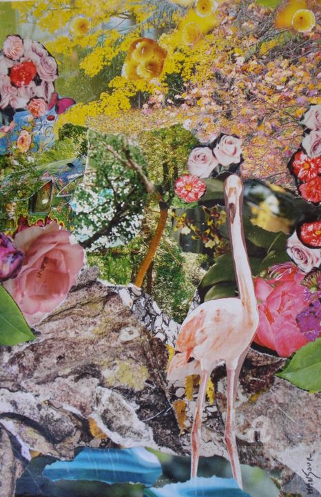 Rose flamant - Collages,  11.8x7.9 in, ©2015 by Dominique GOBELIN MANSOUR -                                                                                                                                                                                                                                                                                                                                                                                      Animals, Birds, flamant roe, oiseaux, animaux, media mixte, collages, rose