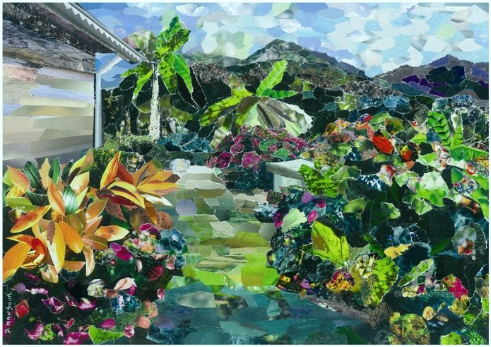 jardin tropical - Collages,  9,5x12,6 in, ©2010 par Dominique Gobelin Mansour -                                                                                                                                                                                                                                                                                                                                                                                                                                                                                                                                              Impressionism, impressionism-603, Jardin, Paysage, jardin, paysage, tropiques, media mixte, collages, papier, impressionnisme
