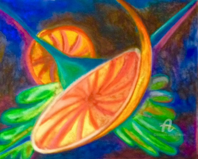 L'orange - Painting, ©2016 by Dominique GOBELIN MANSOUR -                                                                                                                                                                                                                                                                                                                                                                                                                                                      Abstract, abstract-570, Abstract Art, Still life, fruits, imagination, abstrait, couleurs, pastel gras