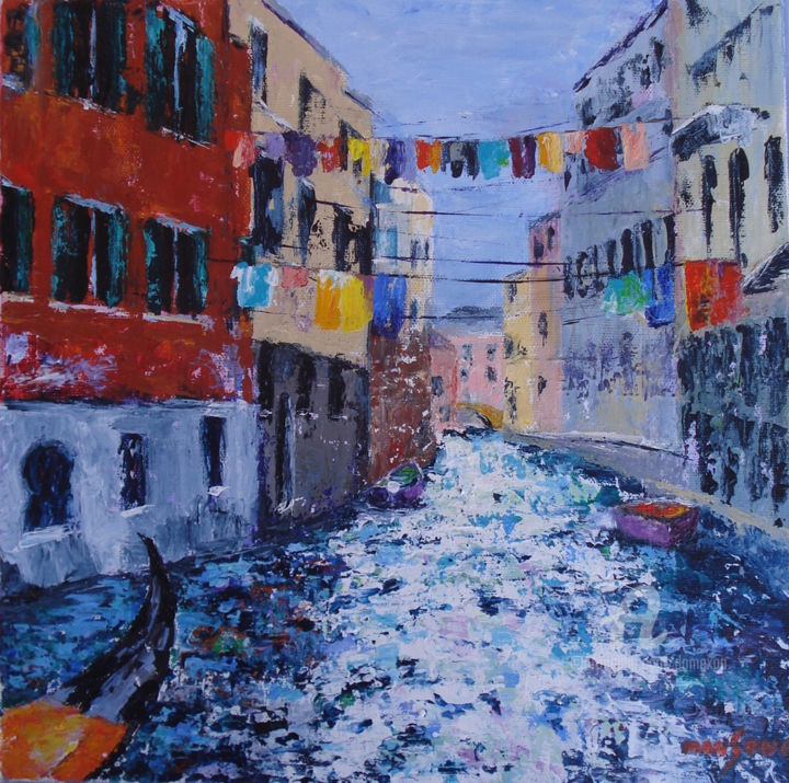 Lessive à Venise - Painting,  30x30 cm ©2016 by Dominique GOBELIN MANSOUR -                                                                                    Impressionism, Canvas, Landscape, Cities, Travel, Venise, ville, peinture, acrylique, couteau