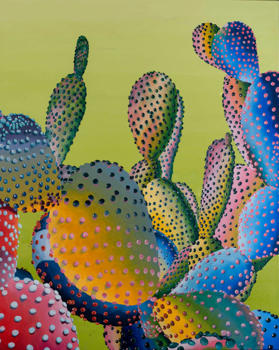 """Painting titled """"Dot Cactus"""" by Dominic Virtosu, Original Art, Oil Mounted on Stretcher frame"""