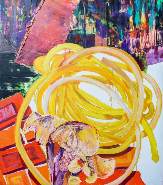 """Painting titled """"Garden Hose"""" by Dominic Virtosu, Original Art, Oil Mounted on Stretcher frame"""