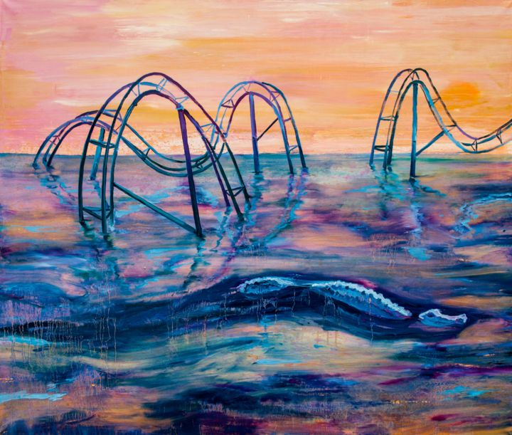 """Painting titled """"Roller Coaster"""" by Dominic Virtosu, Original Art, Oil Mounted on Stretcher frame"""