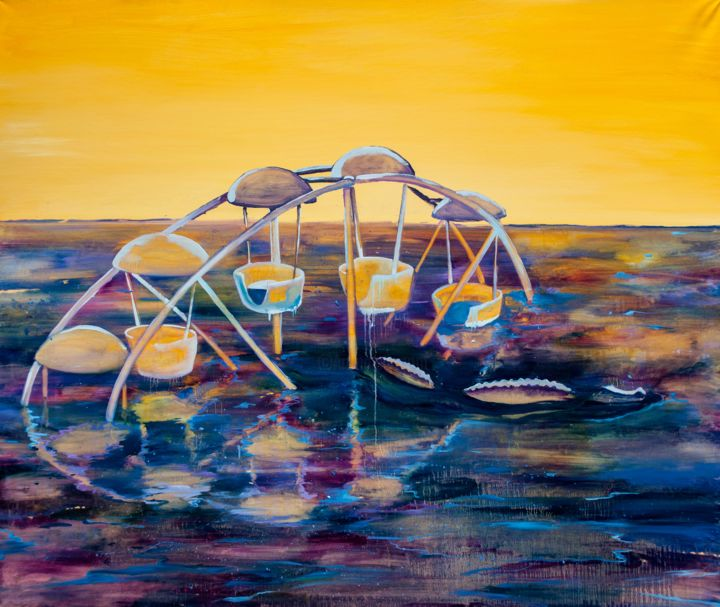 """Painting titled """"Ferris Wheel"""" by Dominic Virtosu, Original Art, Oil Mounted on Stretcher frame"""