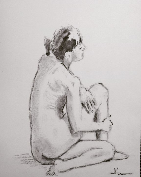 Nude Study - Drawing,  12.6x9.5 in, ©2018 by Dominique Dève -                                                                                                                                                                                                                                                                                                                                                                                                                                                                                                                                              Figurative, figurative-594, Nude, nude, nu, femme, woman, fusain, drawing, dessin, charcoal
