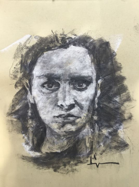 Volontaire - Drawing,  11.4x8.3 in, ©2018 by Dominique Dève -                                                                                                                                                                                                                                                                                                                                                                                                                                                                                                  Figurative, figurative-594, Portraits, portrait, drawing, dessin, femme, woman, charcoal, fusain