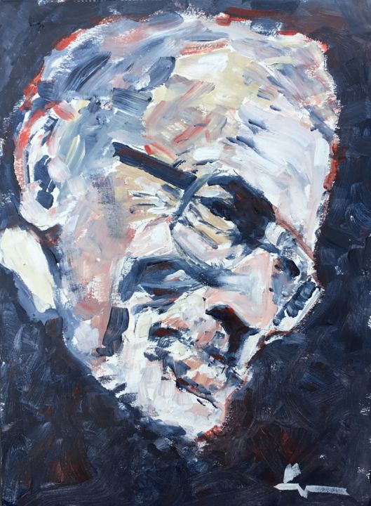 Alla Prima Study of an Old Man - Painting,  15.8x11.8 in, ©2019 by Dominique Dève -                                                                                                                                                                                                                                                                                                                                                                                                          Expressionism, expressionism-591, Portraits, portrait, man, homme, acrylic, painting