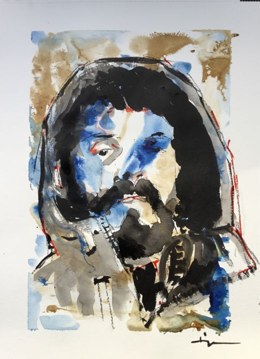 Camouflage - Painting,  16.5x11.8 in, ©2019 by Dominique Dève -                                                                                                                                                                                                                                                                                                                                                                                                                                                      Expressionism, expressionism-591, Portraits, portrait, homme, man, encre, ink, painting