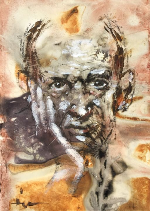 Man With A Horn - Painting,  11.4x8.3 in ©2019 by Dominique Dève -                                            Expressionism, Portraits, portrait, man, homme, acrylic, paiting, boiled, book