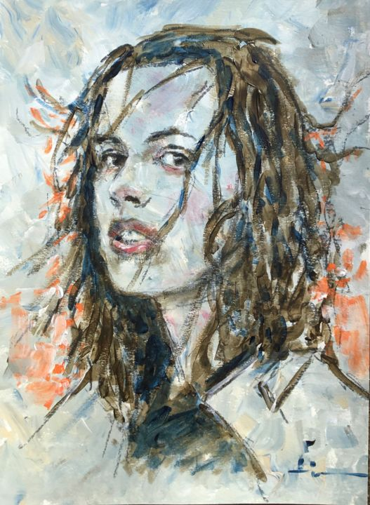 Sunset - Painting,  15.8x11.8 in, ©2019 by Dominique Dève -                                                                                                                                                                                                                                                                                                                                                              Expressionism, expressionism-591, Portraits, portrait, woman, acrylic, painting