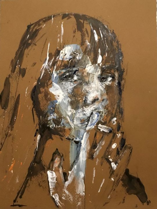 Girl On Smoke - Painting,  12.6x9.5 in, ©2019 by Dominique Dève -                                                                                                                                                                                                                                                                                                                                                              Expressionism, expressionism-591, Portraits, portrait, woman, acrylic, painting