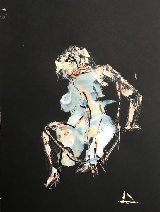 Double Posture - Painting,  12.6x9.5 in, ©2019 by Dominique Dève -                                                                                                                                                                                                                                                                                                                                                                                                          Expressionism, expressionism-591, Nude, portrait, nudeart, woman, acrylic, painting